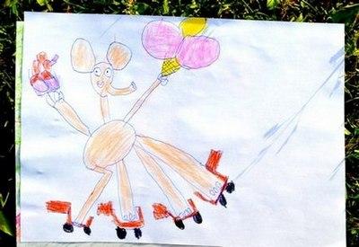Счастливый слон. Детский рисунок