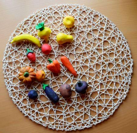 лепка овощей и фруктов из массы для лепки или глины