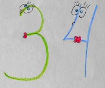 Запоминание цифр . Как писать цифры правильно или как запомнить цифры с ребёнком. Тройка и четвёрка