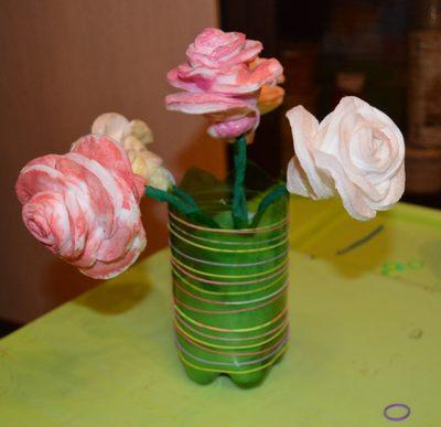 Розы из ватных дисков. Детские поделки из ватных дисков своими руками