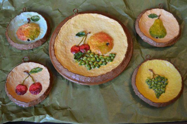 Подарки для интерьера. Идеи панно из папье-маше. Подарки для дома своими руками. Магазин handmade. Панно фрукты