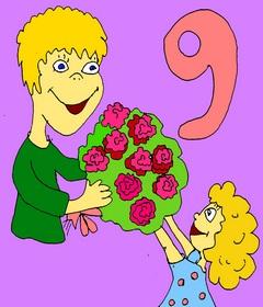 Как запоминать английские слова детям? Весёлый английский для детей. Учим цифры до 10 на английском. Page 4 Nine