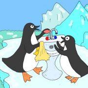 Пингвины рисунок для детей иллюстрация к стиху