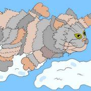 Сказочные стишки, в которых присутствует удивительный и волшебный зверь под названием «САМОЛЁТОКОТ» Картинка - кот в облаках