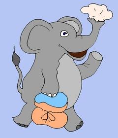 английский язык - карточки со словами и забавными стишками Page 8 AN ELEPHANT