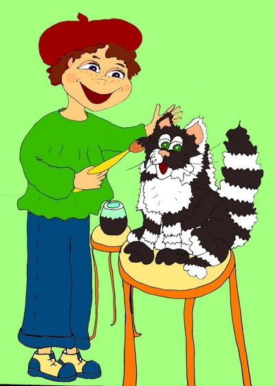 Смешной стишок про белого котёнка Жорку «Чёрный белый котёнок»