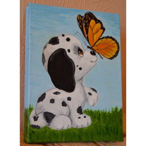 Картина для интерьера детской «Пятнистый далматинец и бабочка»
