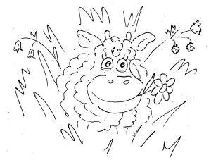 Барашек в траве чёрно-белый рисунок