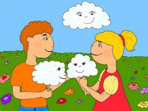 Дети облако и сахарная вата - иллюстрация к стихам про облачко для малышей