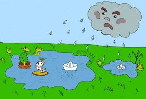 Дождик, лужи и кораблики - иллюстрация к стихам про дождик