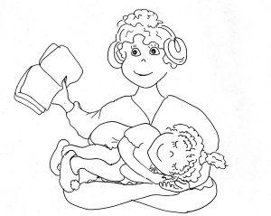 Мама держит на ручках дочку и читает книгу чёрно-белый рисунок
