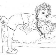 Мама укладывает дочку спать рисунок тушью