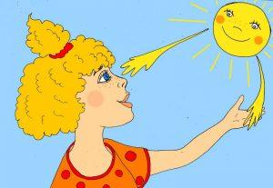 Девочка и солнце - иллюстрация автора к стихам про лучик