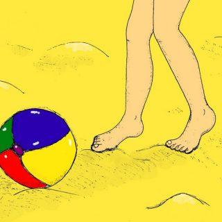 Ножки, мячик и песок - иллюстрация к стихам про лето и ножки
