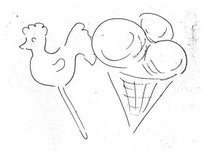 Петушок на палочке мороженое черно-белый рисунок