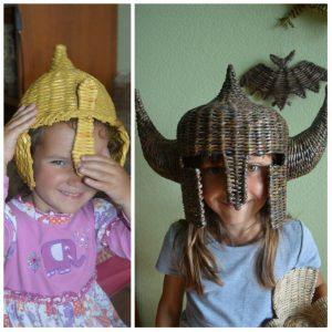 Шлемы из газетных трубочек