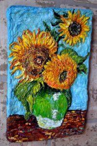 Подсолнухи Ван Гога необычная яркая небольшая картина