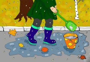 Осенний дождик картинка иллюстрация автора к стиху