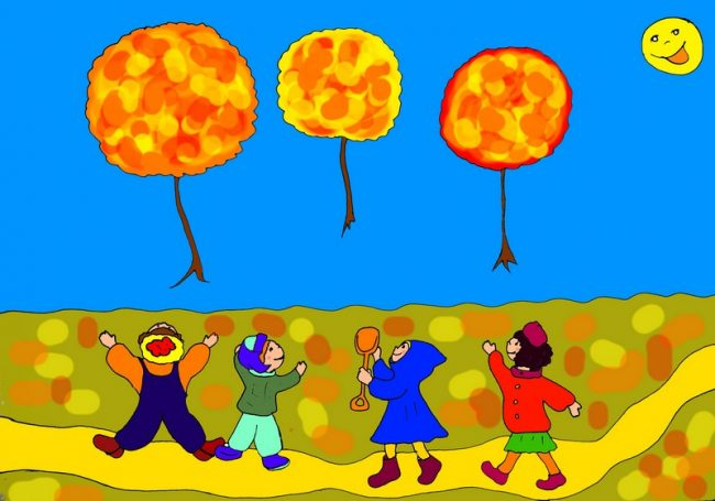 """Летающие клёны - рисунок к смешному осеннему стиху """"Три клёна-шара"""""""
