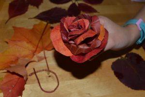 сформированная розочка из осенних листьев