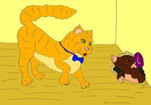 Кот и крот картинка - иллюстрация к стихам для детей