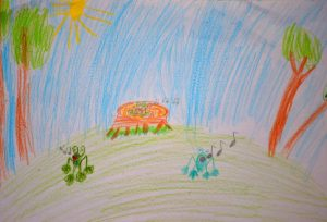 Лягушки детский рисунок иллюстрация к стишкам