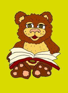Мишка и книжка - иллюстрация к коротким стишкам про зверей