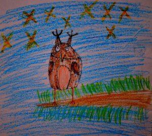 Сова - детский рисунок - иллюстрация к стишкам про сову