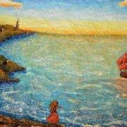 Алые паруса. Фактурная картина из папье-маше