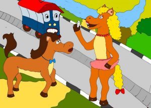 Лошади и трамвай Иллюстрация к стихам про пешеходный переход