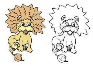 игра дорисуй для детей 3 4 лет - лев