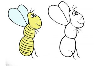 дорисуй и раскрась для детей пчела