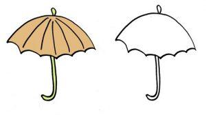 дорисуй картинки зонтик