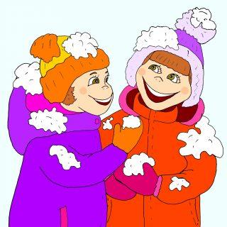 девочки в снегу - картинка к стишкам про мороз для детей