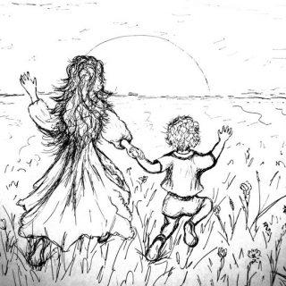 Мама и сын в поле рисунок черно-белый