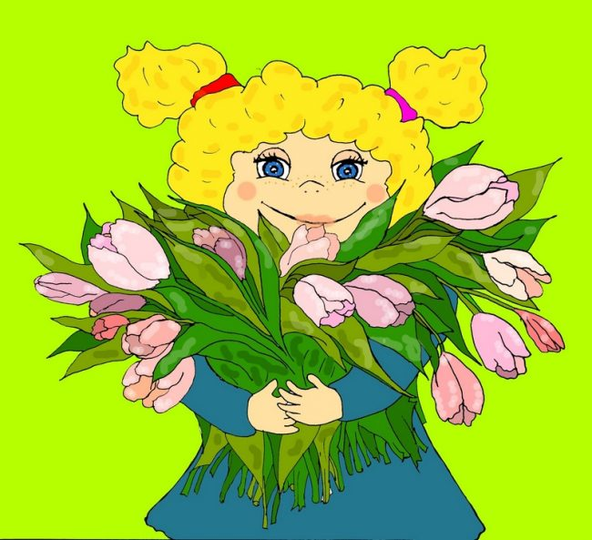 """Девочка и тюльпаны авторская иллюстрация к сказке про 8 марта """"волшебная палочка"""""""