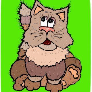 """Кот и хвост цветная картинка - авторская иллюстрация к стихам """"Чей хвостик?"""""""