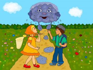 """Девочка, мальчик и дождик - авторская иллюстрация к стихам """"Как дождик в Ясном заблудился"""""""
