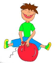 Мальчик прыгает на воздушном шаре маленькая картинка