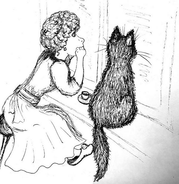 Дама и кот у окна чёрно-белый рисунок