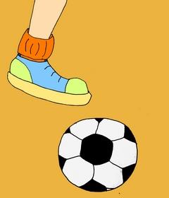 футбольный мяч и нога маленькая детская картинка