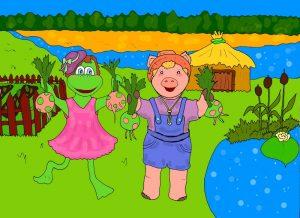 иллюстрация к стишкам про дружбу - поросёнок Хрюк и лягушка Ква