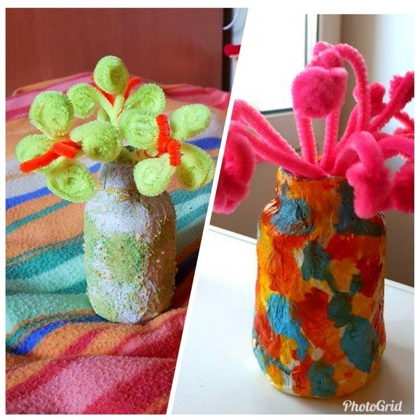две симпатичные вазочки из баночек от витаминок