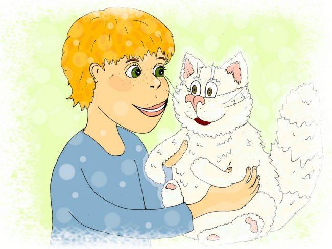 """Мальчик и кот авторская иллюстрация к весёлым стихам про пушистого кота """"Личный кот"""""""
