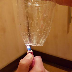 лучше не плавить край бутылки