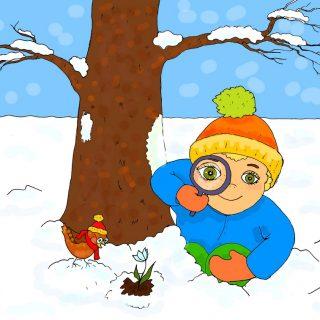"""Иллюстрация автора к стишку для детей про весну """"Я иду весну искать!"""""""