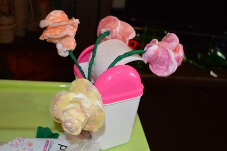 Розы из ватных дисков. Детские поделки из ватных дисков своими руками. Розочки мокрые