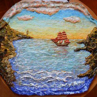 «Алые паруса». Объёмная картина своими руками. Морской пейзаж. Рисунок гуашью по объёмной основе . Лак . Естесвтенное освещение