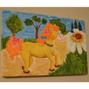 Картина для детской своими руками «Рыжая лошадка и божья коровка»