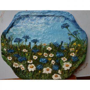 Какой подарок купить маме. Белая ромашка синий василёк. Объёмная картина